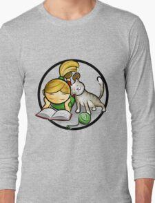 Girl & cute Kitten cartoony Long Sleeve T-Shirt