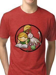Girl & cute Kitten cartoony Tri-blend T-Shirt