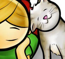 Girl & cute Kitten cartoony Sticker