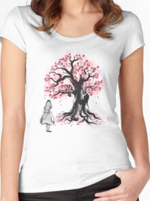 The Cheshire's Tree sumi-e (monochrome) Women's Fitted Scoop T-Shirt