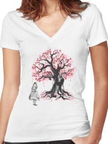 The Cheshire's Tree sumi-e (monochrome) Women's Fitted V-Neck T-Shirt