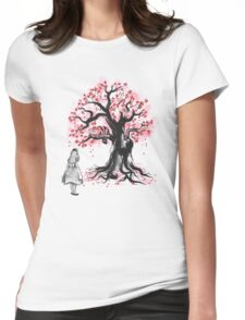 The Cheshire's Tree sumi-e (monochrome) Womens Fitted T-Shirt