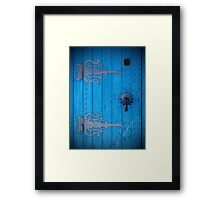Traditional Old Bright Blue Door in Tunisia with Iron Decorations Framed Print