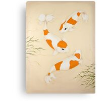 Koi Carp Fishes Orange White Kohaku Swimming Canvas Print