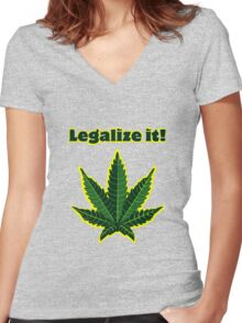 Legalize it! Women's Fitted V-Neck T-Shirt