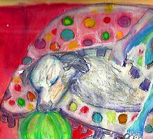 Curica Sleeps on the polka dot blankie by Diane  Kramer