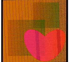 Textured red heart on background  by Larisa13