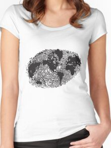 Globe Finger Print T-shirt: One Of A Kind Women's Fitted Scoop T-Shirt