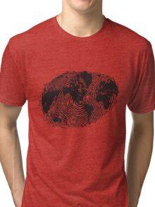 Globe Finger Print T-shirt: One Of A Kind Tri-blend T-Shirt