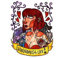 Videogame Babe Tattoo Photographic Print