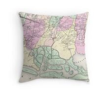 Vintage Map of South Hempstead Long Island (1873) Throw Pillow