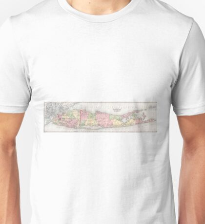 Vintage Map of Long Island New York (1873) Unisex T-Shirt