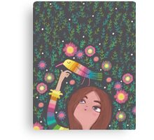 RAINBOW BIRD AND GIRL Canvas Print