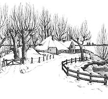 Winter in Holland - Pen Drawing by RainbowArt