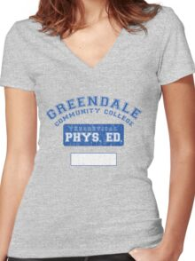 Greendale Theoretical Phys. Ed.  Women's Fitted V-Neck T-Shirt