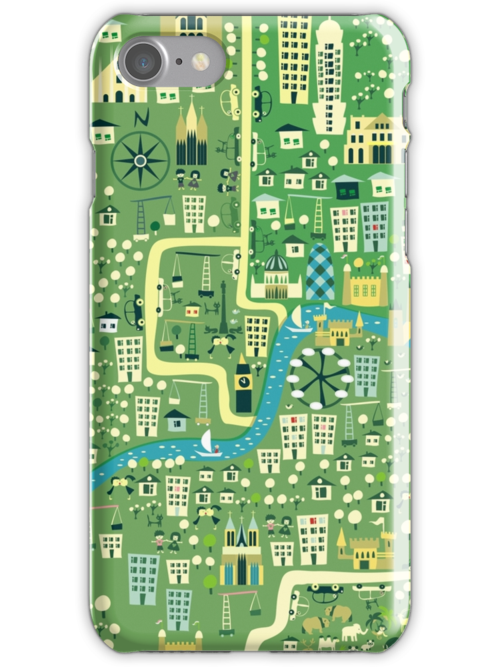 cartoon map of London iPhone 3,4- iPod case by Anastasiia Kucherenko