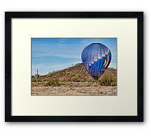 Blue Hot Air Balloon On The Desert  Framed Print