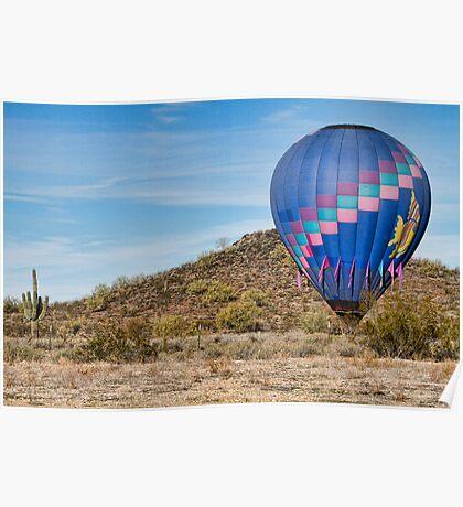 Blue Hot Air Balloon On The Desert  Poster