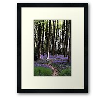 Lilac Bluebells Woodland Landscape Watercolour Scene Framed Print