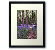 Vibrant Sea of Bluebells in a Rustic British Woodland Watercolour Scene Framed Print