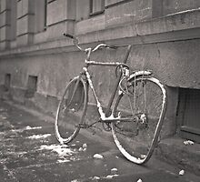 Bicycle against wall: Dresden by Ron Greer