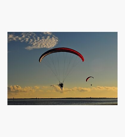 Power Paragliding  Over the Water Photographic Print