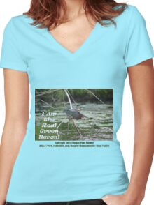 I Am the Real Green Heron! Women's Fitted V-Neck T-Shirt