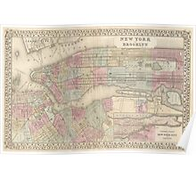 Vintage Map of NYC and Brooklyn (1882) Poster