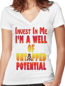 Untapped Potential Women's Fitted V-Neck T-Shirt