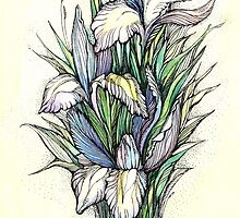 Beautiful iris - Hand draw  ink and pen, Watercolor, on textured paper by Sviatlana Kandybovich