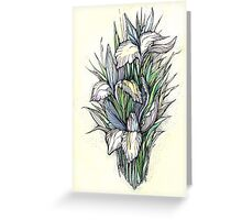 Beautiful iris - Hand draw  ink and pen, Watercolor, on textured paper Greeting Card