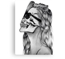 Woman skull glasses Canvas Print