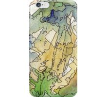Abstract Watercolor Mountains in Green, Blue, Orange iPhone Case/Skin