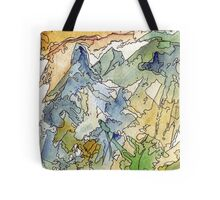 Abstract Watercolor Mountains in Green, Blue, Orange Tote Bag