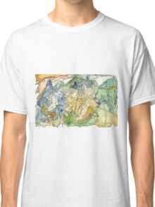 Abstract Watercolor Mountains in Green, Blue, Orange Classic T-Shirt