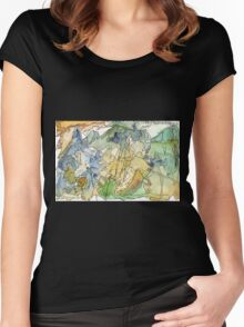 Abstract Watercolor Mountains in Green, Blue, Orange Women's Fitted Scoop T-Shirt
