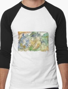 Abstract Watercolor Mountains in Green, Blue, Orange Men's Baseball ¾ T-Shirt