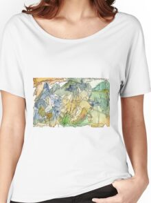 Abstract Watercolor Mountains in Green, Blue, Orange Women's Relaxed Fit T-Shirt