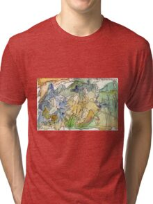 Abstract Watercolor Mountains in Green, Blue, Orange Tri-blend T-Shirt