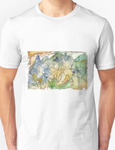 Abstract Watercolor Mountains in Green, Blue, Orange T-Shirt