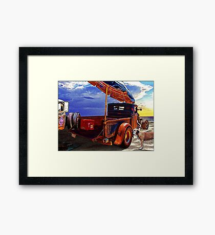Beach Rod Aftermath Meets the Golden Dawn Framed Print