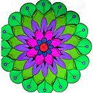 Green, Pink and Purple Mandala by WienArtist
