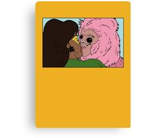 kiss the monkey. Canvas Print