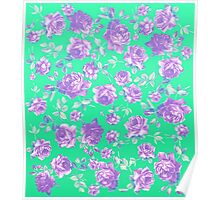 Vibrant Teal and Purple Hipster Rose Floral Print Poster