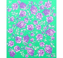 Vibrant Teal and Purple Hipster Rose Floral Print Photographic Print