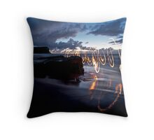 Garie Beach - Fire Scribbles Throw Pillow