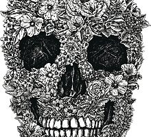 Floral Skull Black and White by ssduckman