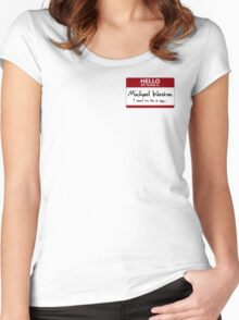 """Nametag Parody: Burn Notice - """"My Name Is Michael Westen"""" Women's Fitted Scoop T-Shirt"""