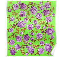 Vintage Purple Roses on Neon Green Background Poster