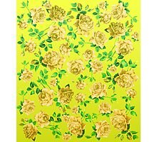 Vintage Yellow Roses on Neon Yellow Background Photographic Print